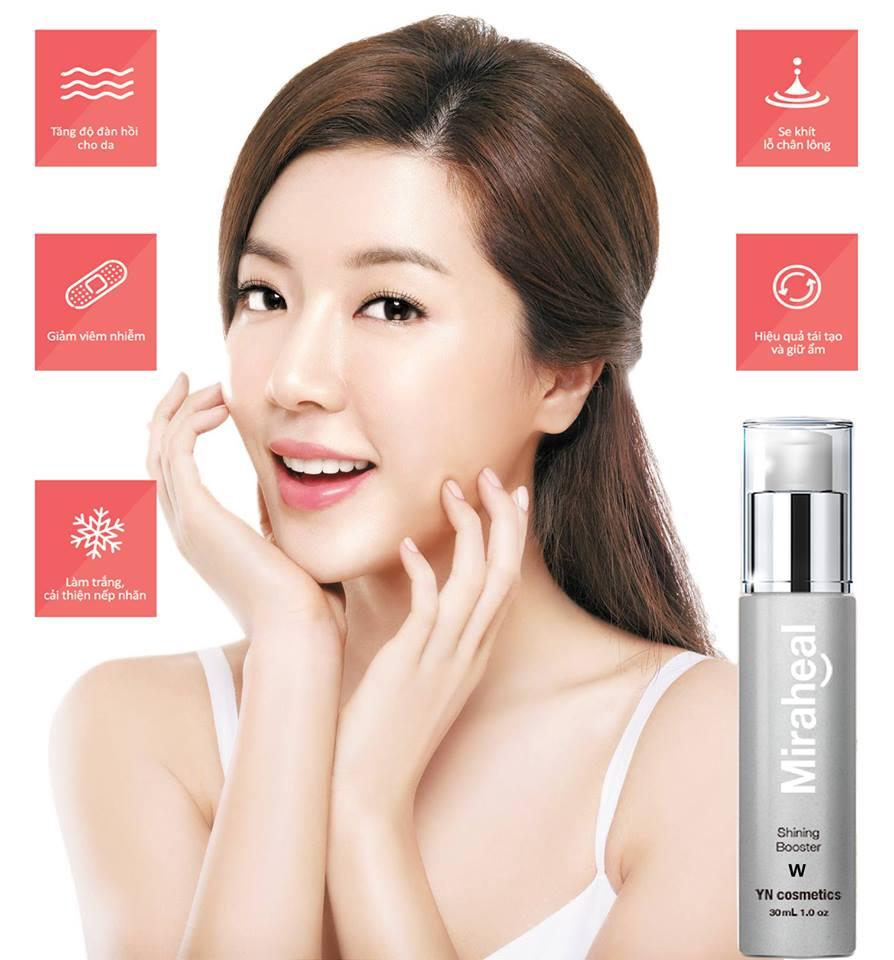 NK Miraheal Shining Booster W tăng độ đàn hồi, se khít lỗ chân lông và làm trắng da