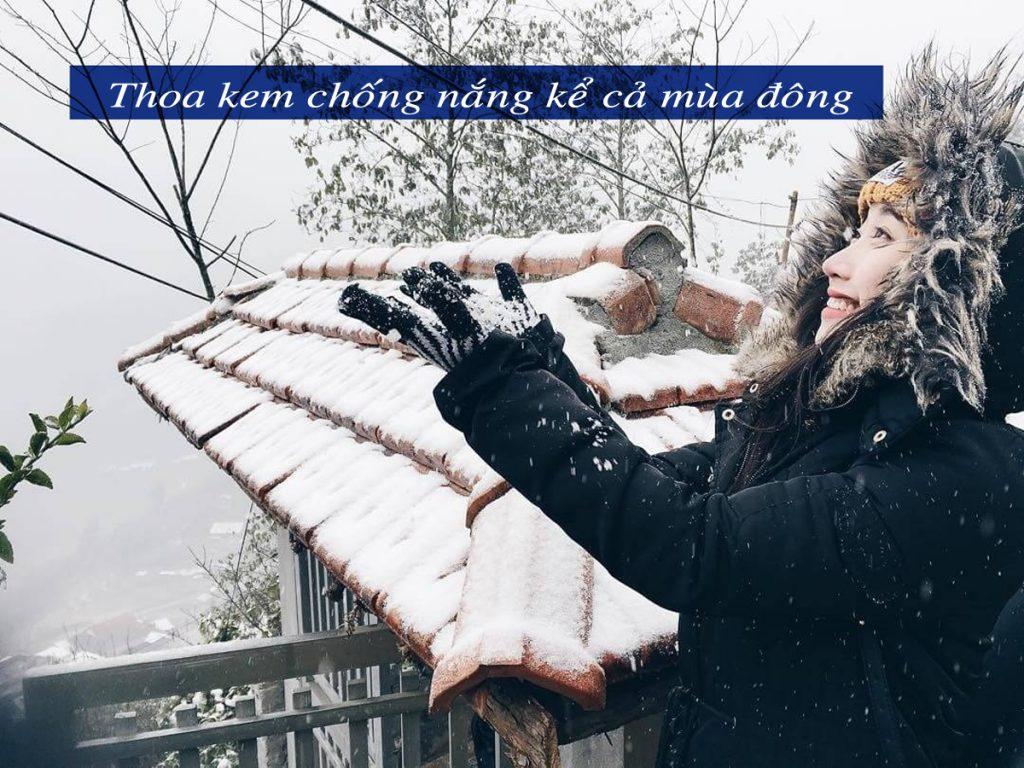 Mùa đông cũng cần sử dụng kem chống nắng để bảo vệ làn da