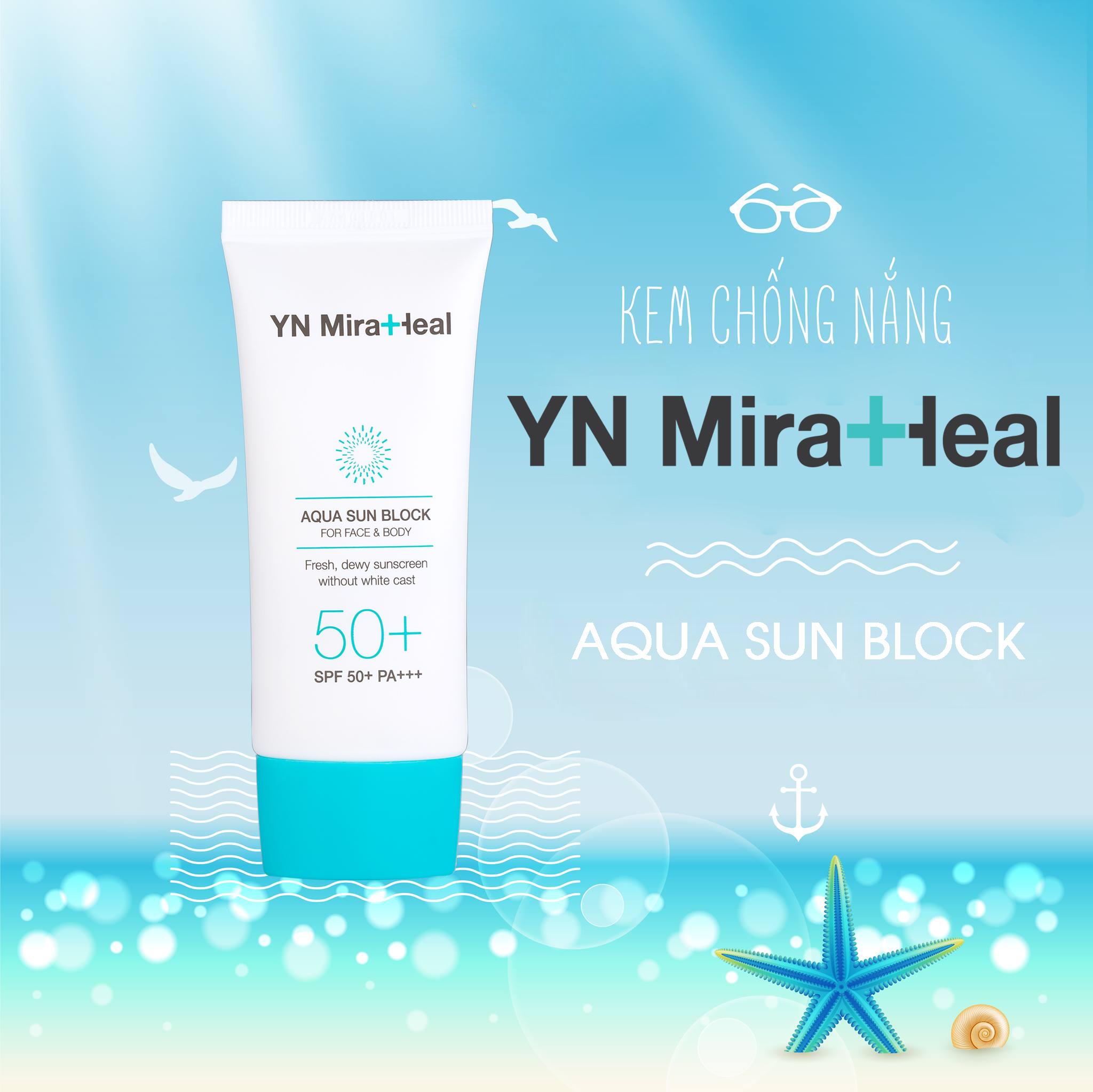 Kem chống nắng YN Miraheal Aqua Sun Block được các chị em đánh giá là sản phẩm TOP 1 với làn da mụn và nhạy cảm