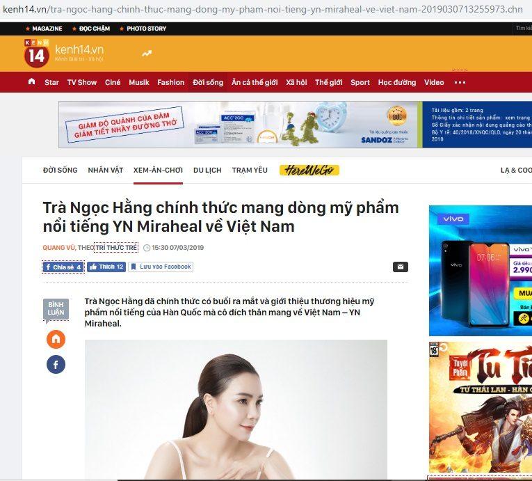 Bài viết về thương hiệu dược mỹ phẩm Hàn Quốc YN Miraheal trên trang tin kenh14.vn