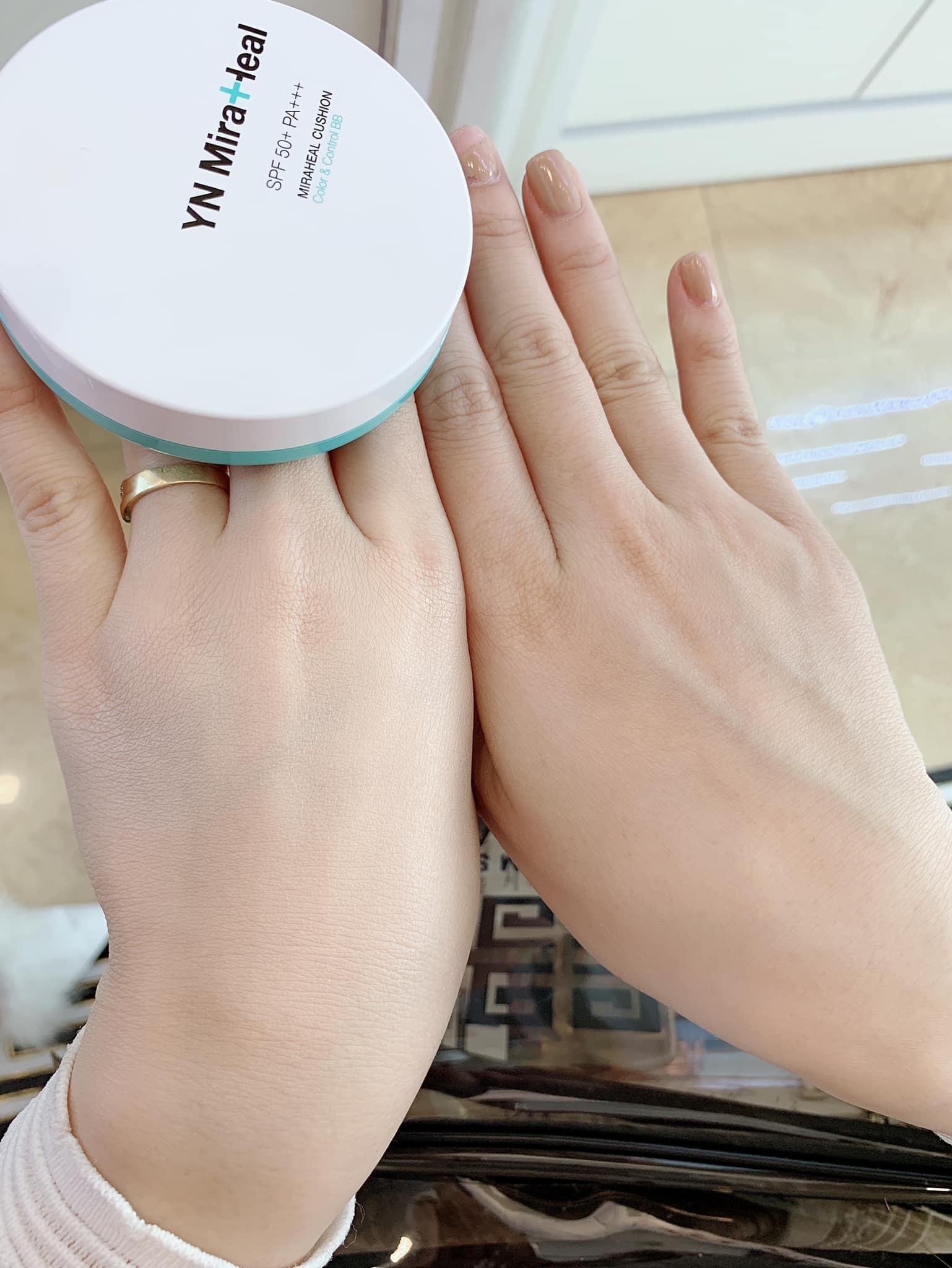 Test độ bật tone của cushion chống nắng Hàn Quốc YN Miraheal