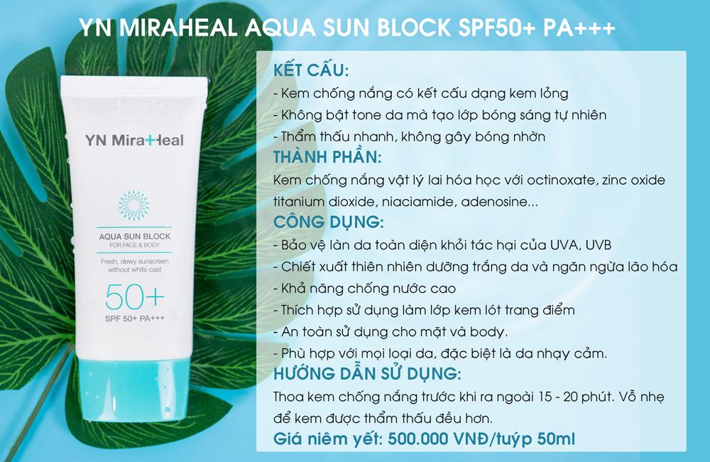Kem chống nắng dược mỹ phẩm YN Miraheal Aqua Sun Block SPF50+ PA+++