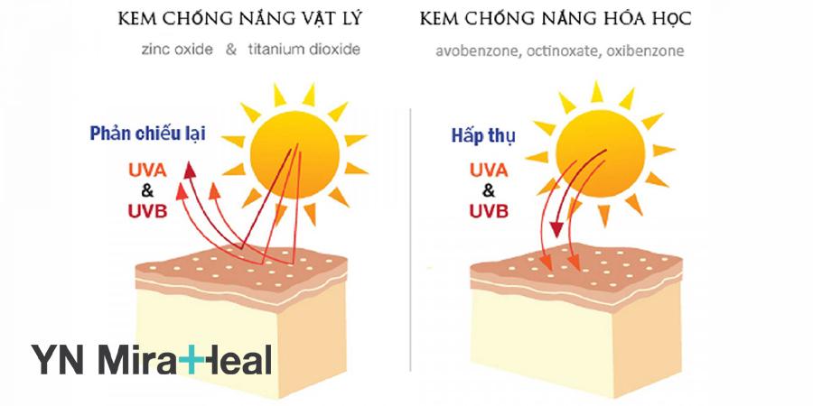 Nguyên lý hoạt động của kem chống nắng vật lý và hóa học
