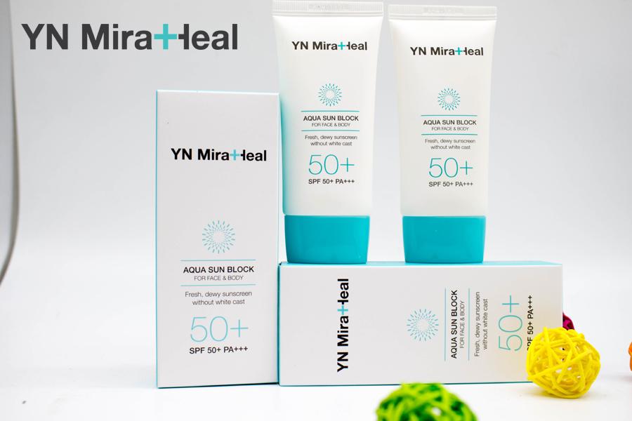 """Kem chống nắng mùa đông YN Miraheal Aqua Sun Block dành cho cả mặt và toàn thân với ký hiệu trên nhãn """"For Face & Body"""""""